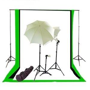 Bresser Daglicht Studio Set 3x85W (1275 watt) + 3 doeken zwart, wit en groen
