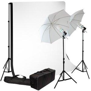 Daglicht Studio Set 850 watt + 2 doeken zwart en wit