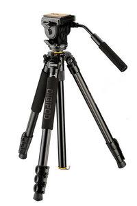 Foto video statief aluminium/magnesium driebeen Pro + Videokop1.73m