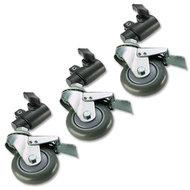 Universele zwenkwielen set (geremd) voor lampstatieven tot een buisdiameter van 22mm